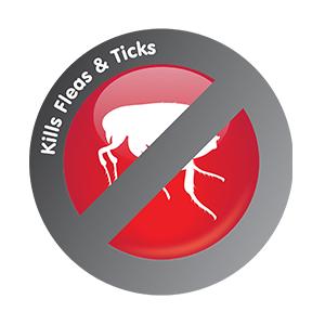 Kills fleas and ticks