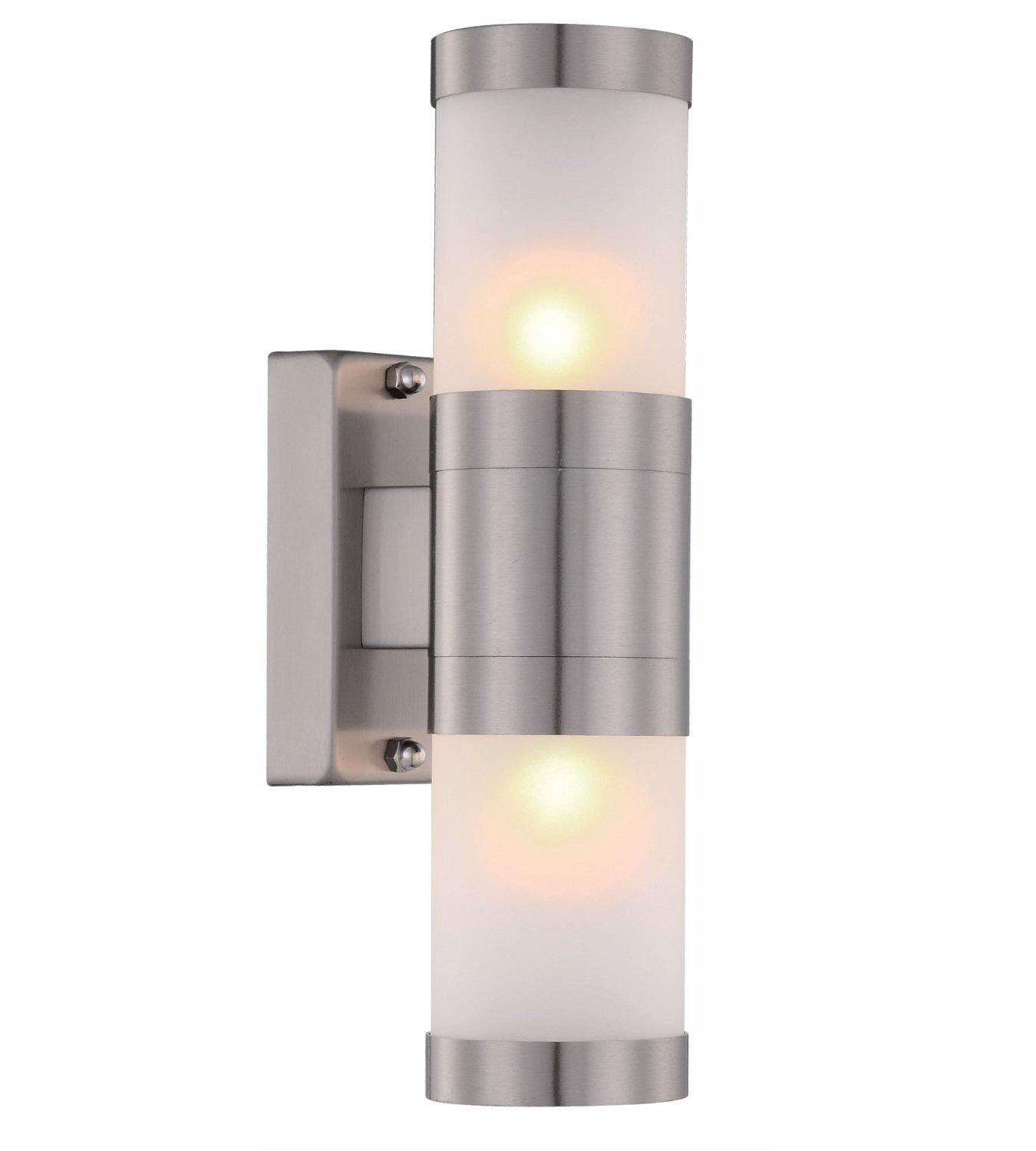 Zenon Lighting  sc 1 st  Amazon UK & Stainless Steel Up Down Wall Light Frosted Glass Cover IP44 Garden ... azcodes.com