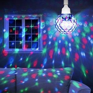 Ion audio party ball motorised spinning disco ball bulb with inside this crystal clear sphere are dozens of bright leds that shower walls and ceiling with vivid swirling patterns of light aloadofball Image collections