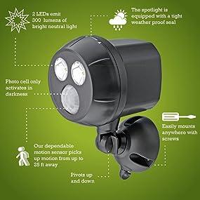 mr beams ultrabright spotlight, wireless motion sensing spotlight, outdoor led spotlight