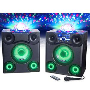 ION Audio Mega Party Express | 600 W Bluetooth Speaker System with LED  Party Lights, FM Tuner, Microphone and Remote Controller