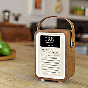 vq retro mini dab dab digital radio with fm bluetooth alarm clock brown tv. Black Bedroom Furniture Sets. Home Design Ideas