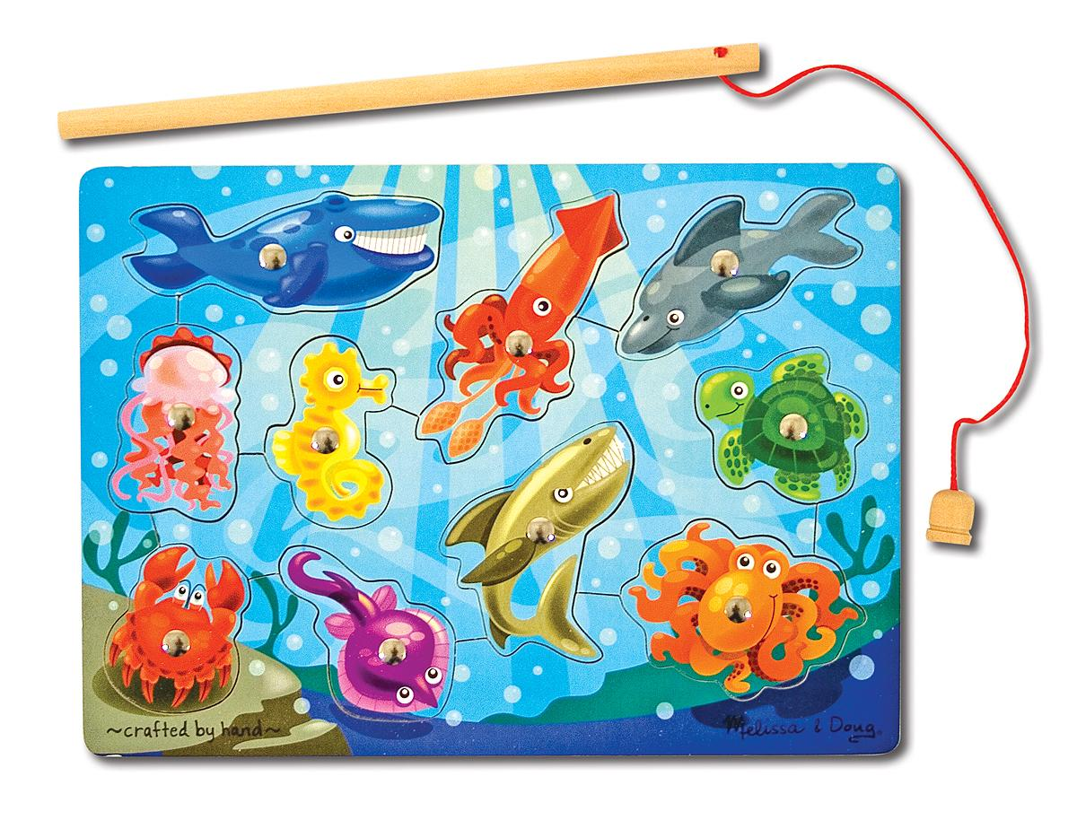 melissa doug magnetic wooden fishing game with magnetic