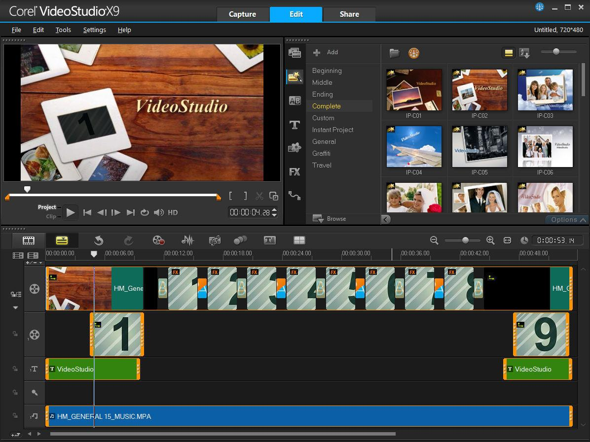 Corel videostudio pro x9 pc software for Free corel video studio templates