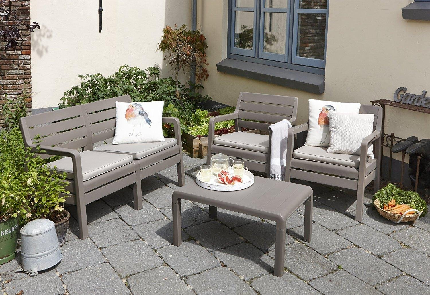 Allibert by keter delano outdoor 4 seater lounge garden for Outdoor furniture quebec