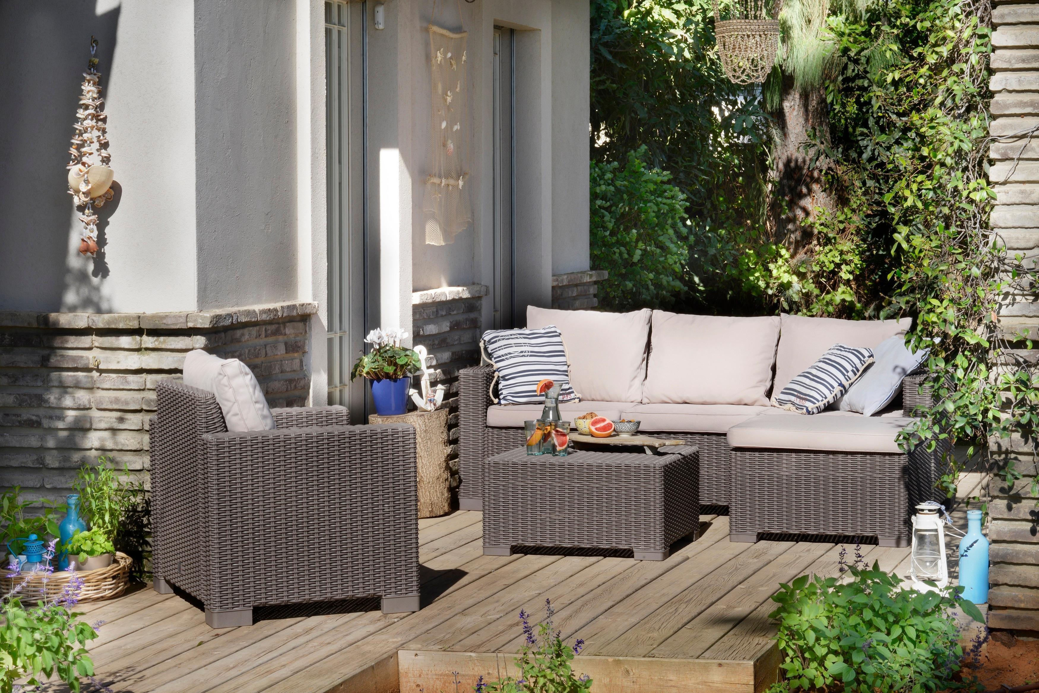 Allibert by keter moorea 5 seater rattan lounge outdoor for Sofas de ratan para jardin