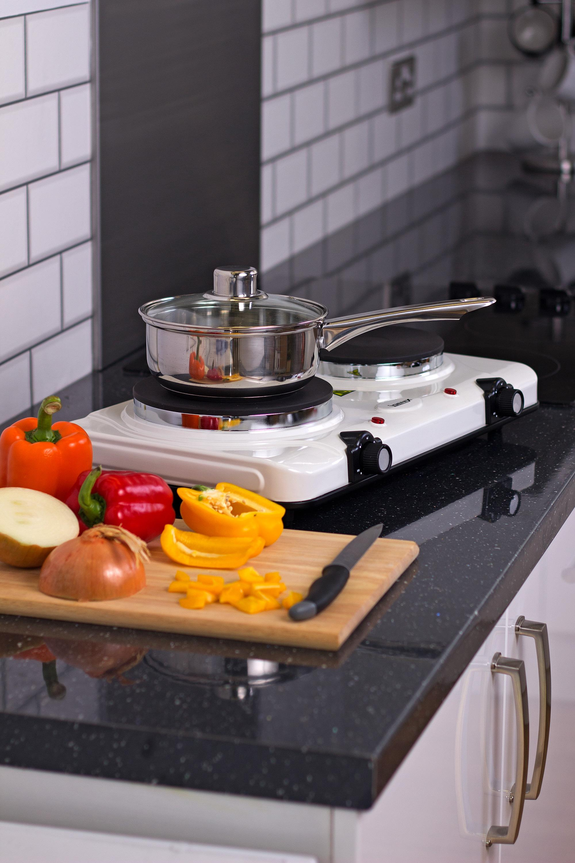 Table Top Hob 2250 W Double Boiling Ring Cooktop Igenix IG8020 Portable Double Electric Hotplate White