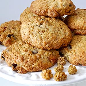 Mulberry Raisin Chewy Oat Cookies, Sevenhills Wholefoods, mulberries, cacao butter