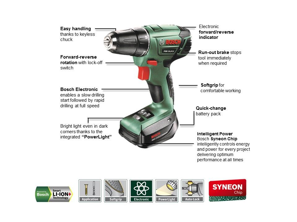 bosch psr 1440 li 2 cordless drill driver with 14 4 v lithium ion battery diy tools. Black Bedroom Furniture Sets. Home Design Ideas