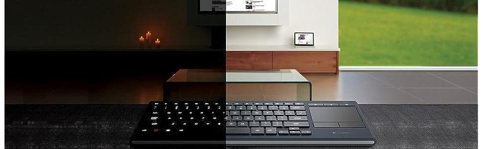 Logitech K830 Illuminated Living ROOM Keyboard Radio Transfer PC