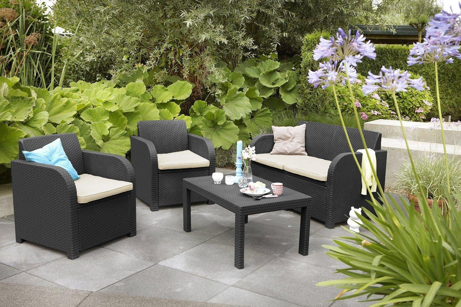 allibert keter carolina outdoor 4 seater rattan lounge garden furniture set new ebay. Black Bedroom Furniture Sets. Home Design Ideas