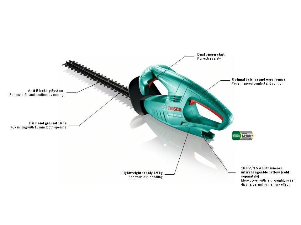 new boxed bosch ahs 45 15 li electric cordless lithium ion hedge trimmer our sal. Black Bedroom Furniture Sets. Home Design Ideas