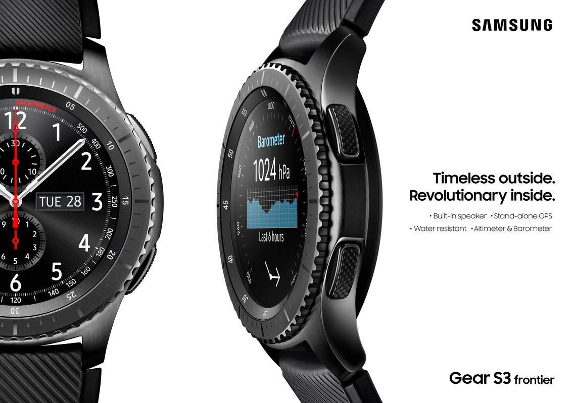 samsung gear s3 frontier smartwatch black space grey. Black Bedroom Furniture Sets. Home Design Ideas