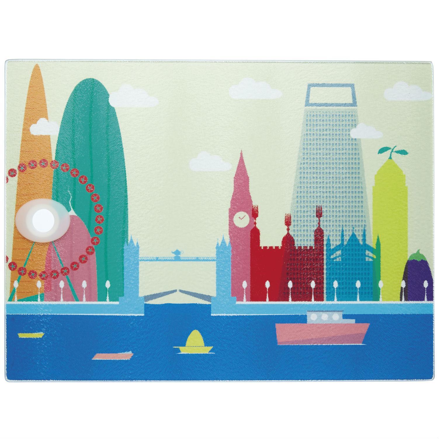 KitchenCraft \'London\' Toughened Glass Worktop Saver, 40 x 30 cm (16 ...