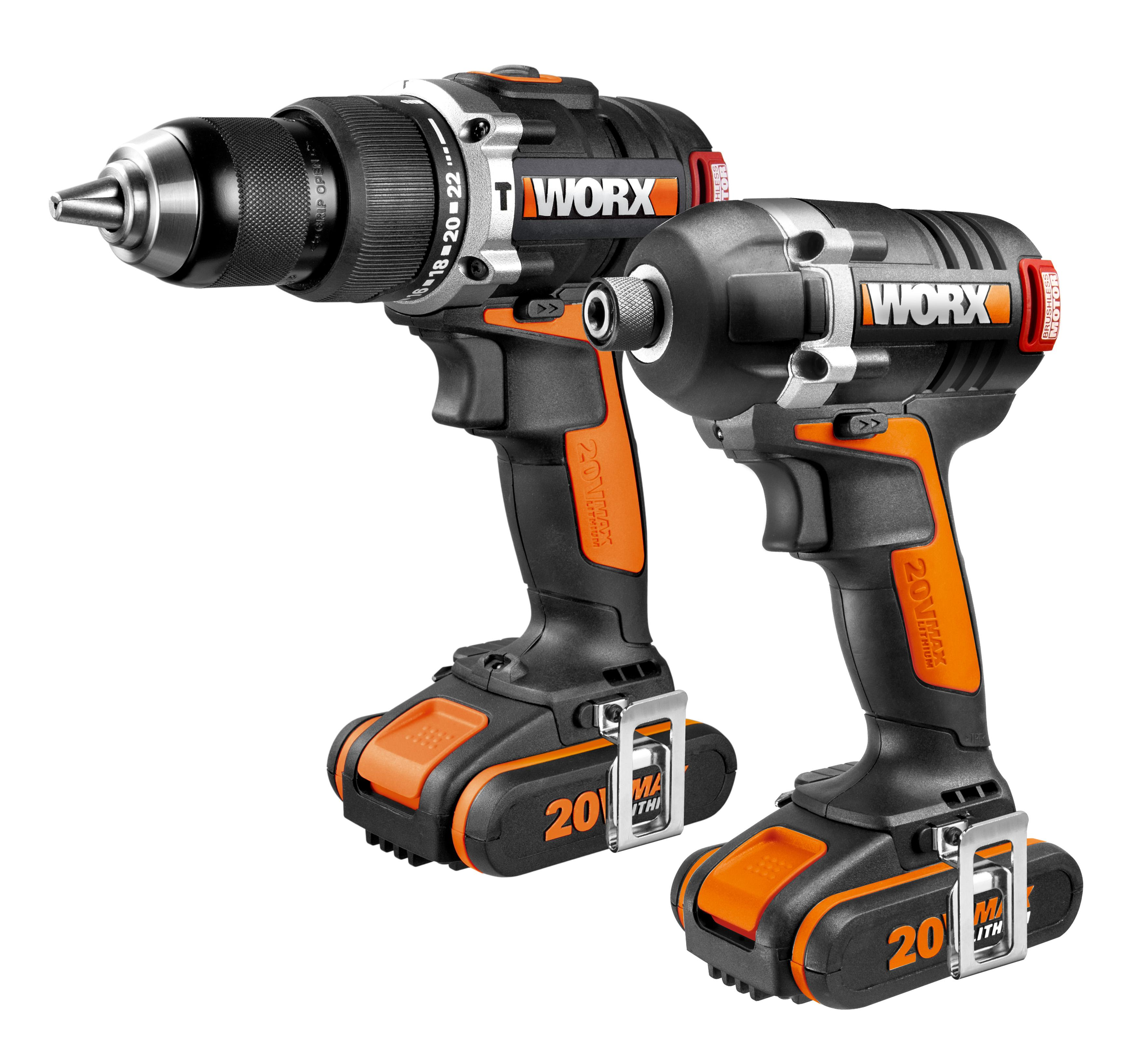 Worx Wx918 20 V Lithium Ion Brushless Motor Impact Driver And Hammer Drill Diy