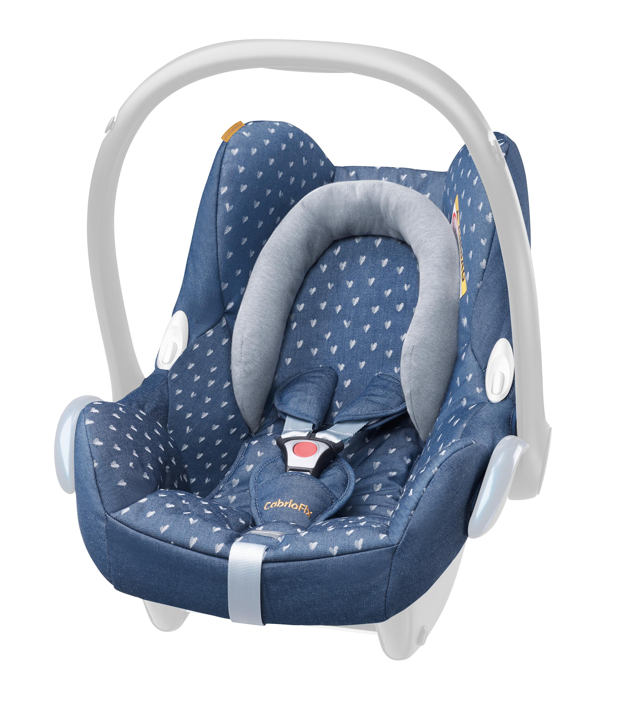 maxi cosi cabriofix seat cover denim hearts. Black Bedroom Furniture Sets. Home Design Ideas