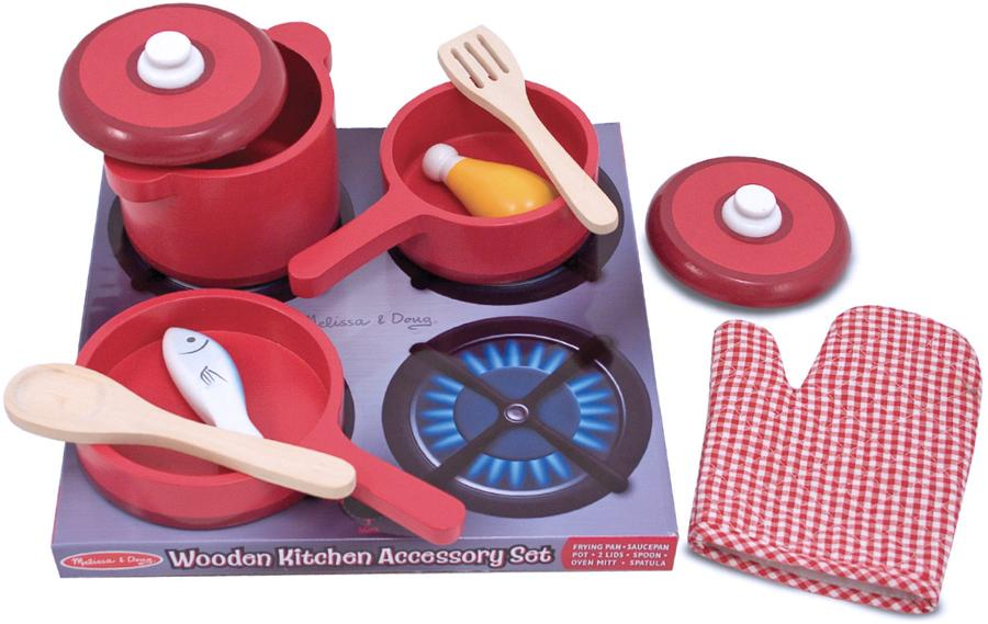 melissa doug deluxe wooden kitchen accessory set pots pans 8 pcs toys games. Black Bedroom Furniture Sets. Home Design Ideas