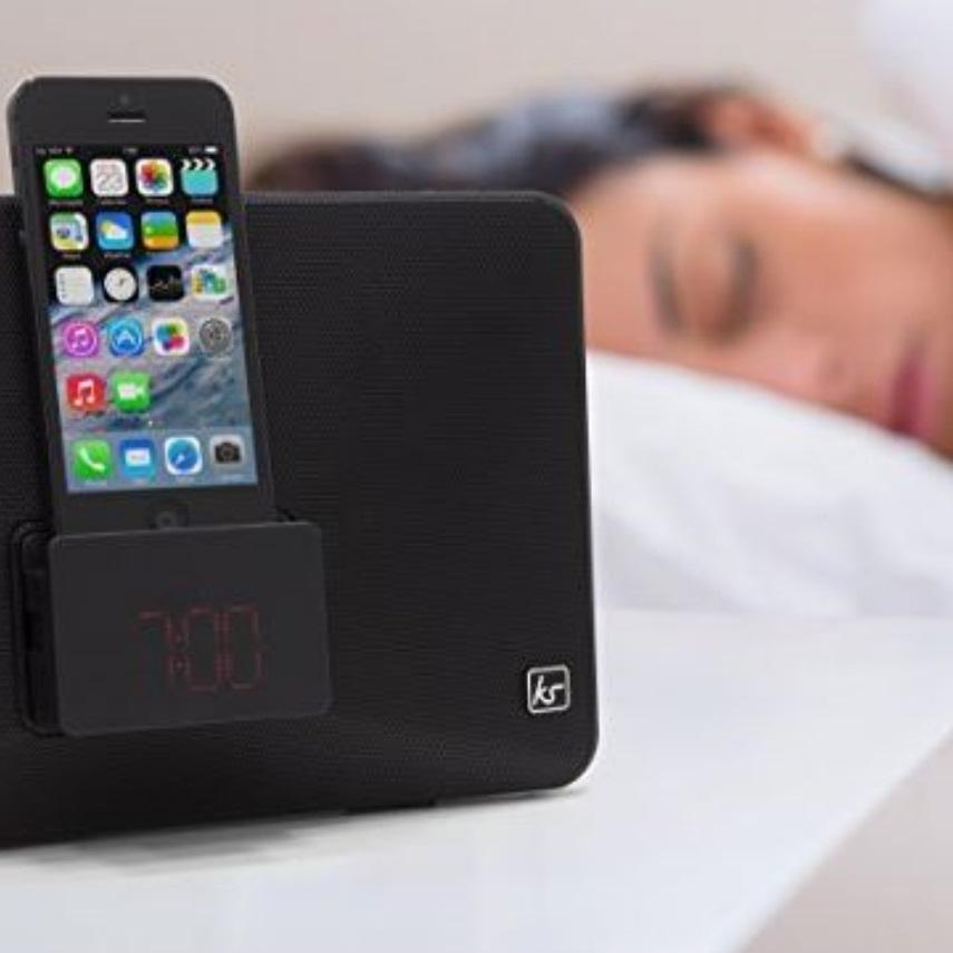 kitsound fresh alarm clock radio docking station with lightning connector for iphone ipod nano. Black Bedroom Furniture Sets. Home Design Ideas