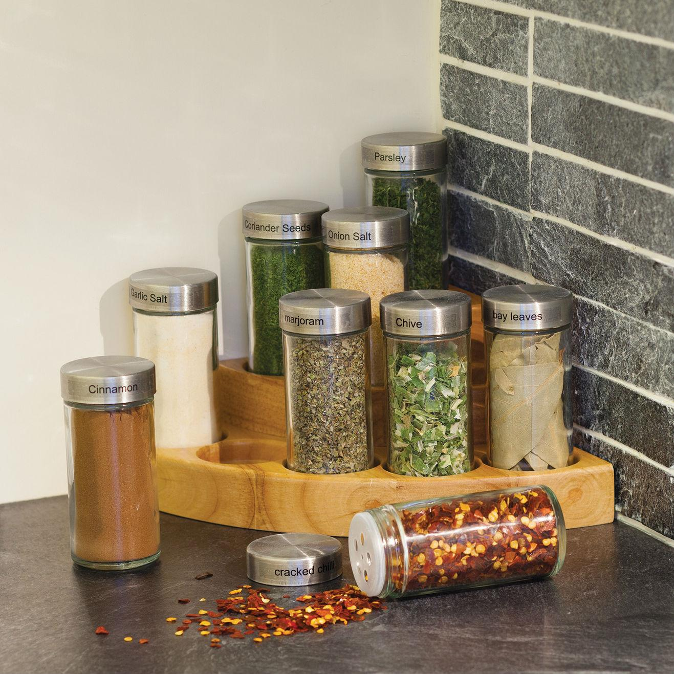 Corner Spice Rack: MasterClass 3-Tier Wooden Corner Spice Rack With Herbs And