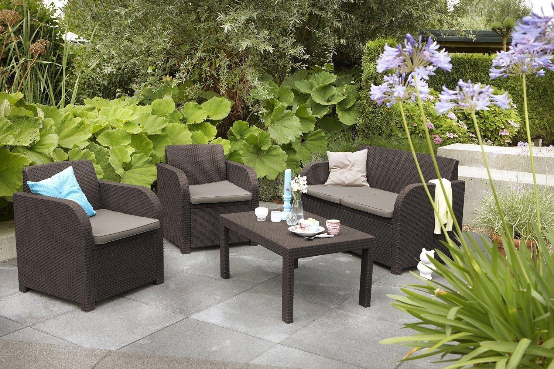 Keter Carolina Outdoor 4 Seater Rattan Lounge Table Garden ...