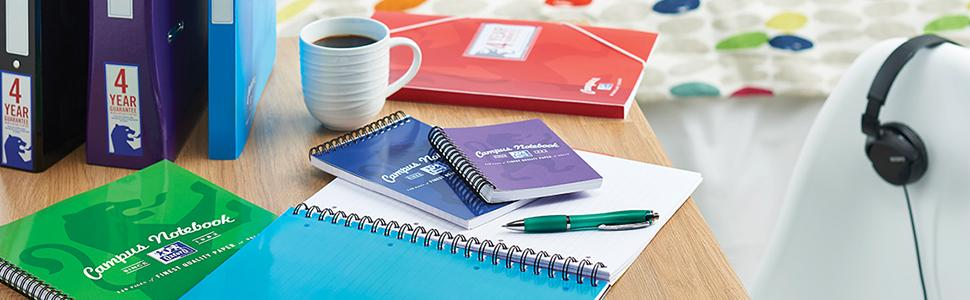 Oxford Campus Notebooks & Pads - perfect for students. Choose A4, A5 or A6 sizes or project books