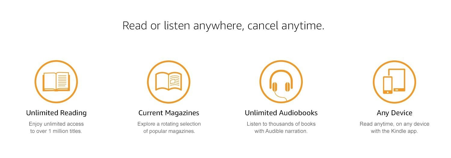 Read or listen anywhere, cancel anytime. Unlimited Reading: Enjoy unlimited access to over 1 million titles. Current magazines: Explore a rotating selection of popular magazines. Unlimited Audiobooks: Listen to thousand of books with Audible narration. Any Device: Read anytime, on any device, with the Kindle App.