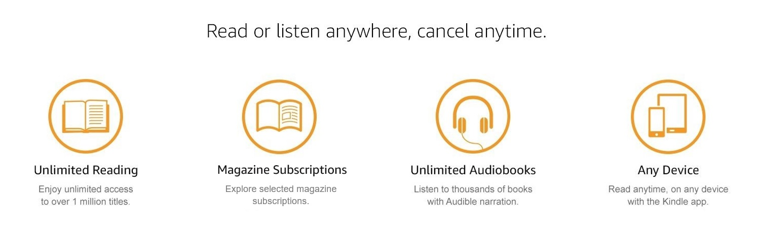 Read or listen anywhere, cancel anytime. Unlimited Reading: Enjoy unlimited access to over 1 million titles. Current magazines: Explore selected magazine subscriptions. Unlimited Audiobooks: Listen to thousand of books with Audible narration. Any Device: Read anytime, on any device, with the Kindle App.