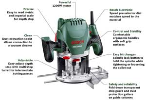 Bosch pof 1200 ae router amazon diy tools the pof 1200 ace has a number of useful features greentooth