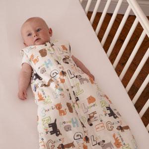 Baby wearing Alphapet Grobag