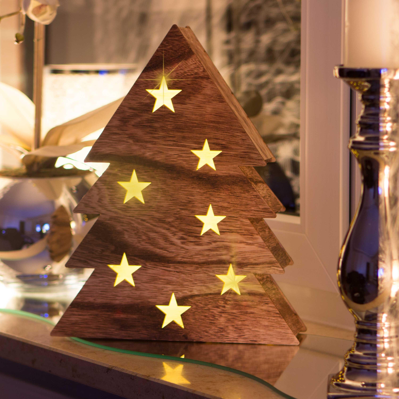 Snowera led holzdekoration weihnachtsbaum mit 10 led s for Weihnachtsbaum fa r fensterbank