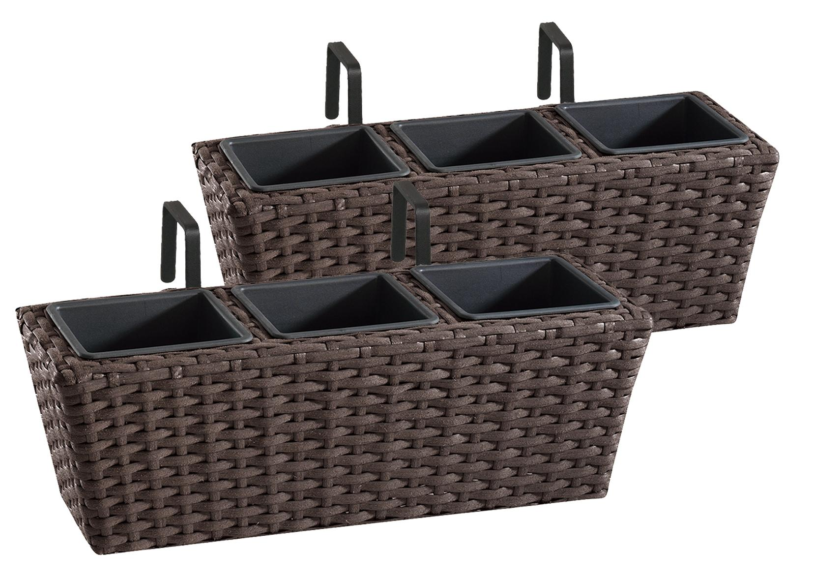 gartenfreude polyrattan balkonkasten blumenkasten 2 st ck inkl aufh ngung 47 x 17 x 15 cm mit. Black Bedroom Furniture Sets. Home Design Ideas