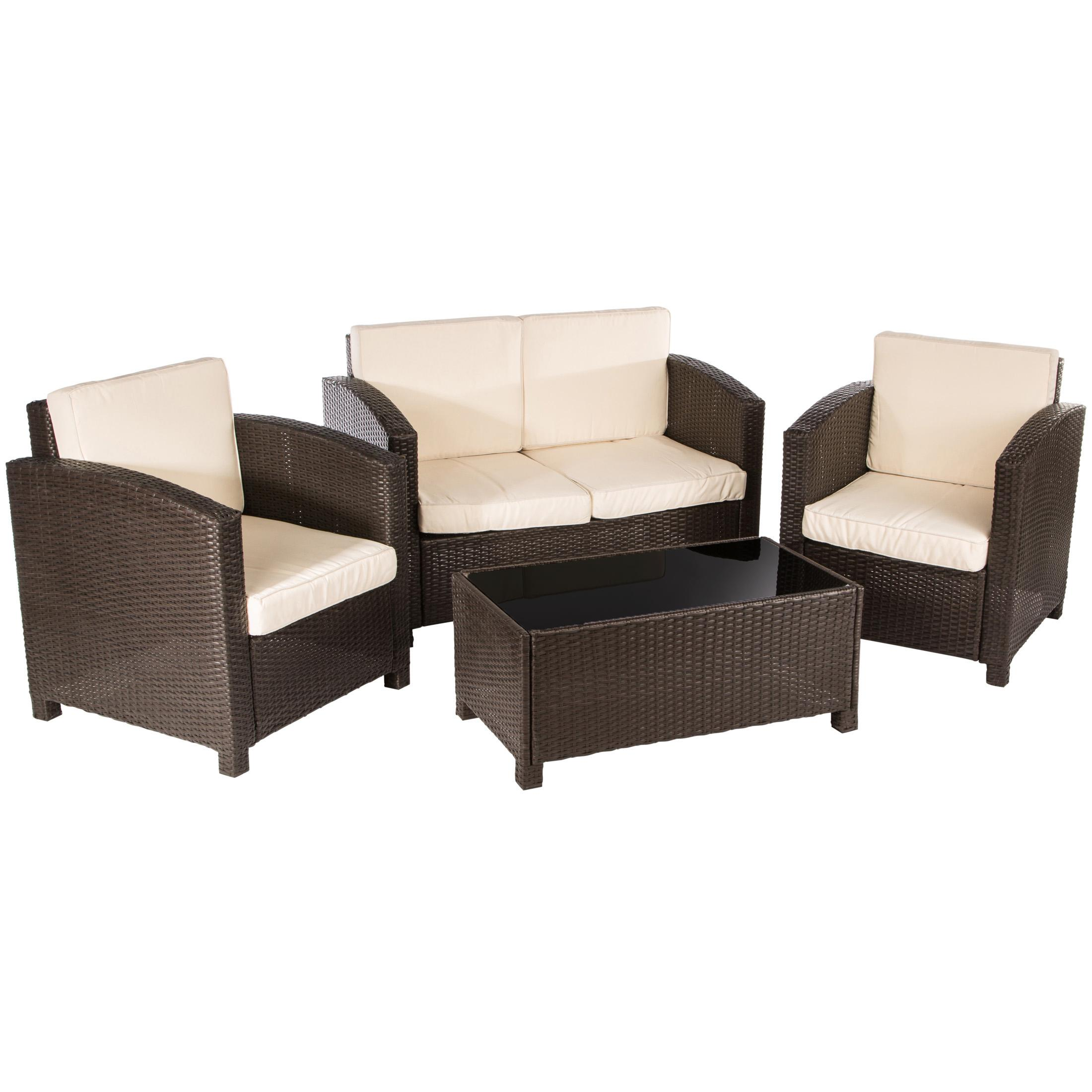 ultranatura poly rattan lounge sitzgruppe palma serie 4 teilig tisch couch 2. Black Bedroom Furniture Sets. Home Design Ideas