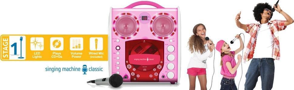 Singing Machine SML-383 Tragbarer CDG Karaoke-Player und 3