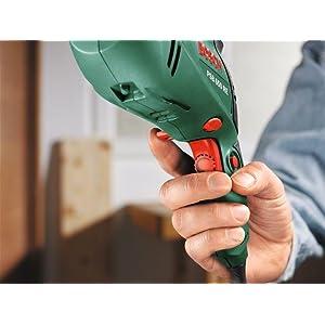 Beim Schlagbohrer PSB 650 RE erfolgt die Drehzahlvorwahl über Stellrad und Schalterdrücker.