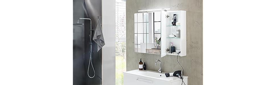 Schildmeyer 125353 Spiegelschrank, 80 x 75 x 16 cm, weiß