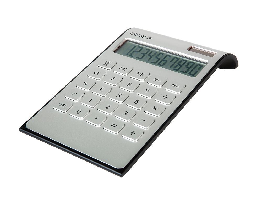 Genie dd400 10 stelliger tischrechner dual power silber for Design tisch taschenrechner