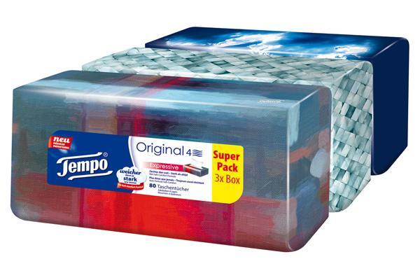 tempo taschent cher original trio box 4 lagige tempos in praktischer t cherbox mit tollem. Black Bedroom Furniture Sets. Home Design Ideas
