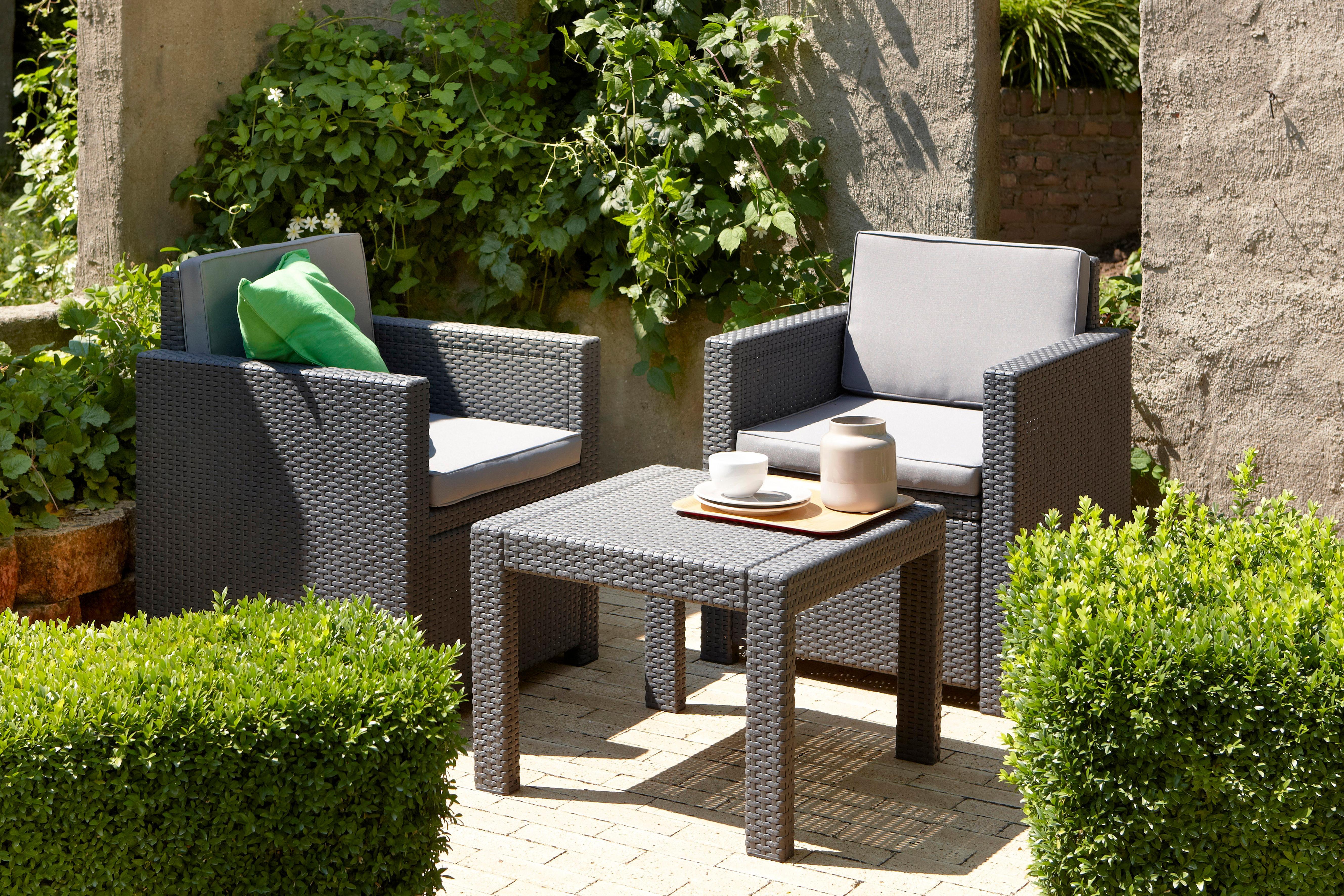 allibert lounge set victoria balcony grau 3 teilig. Black Bedroom Furniture Sets. Home Design Ideas