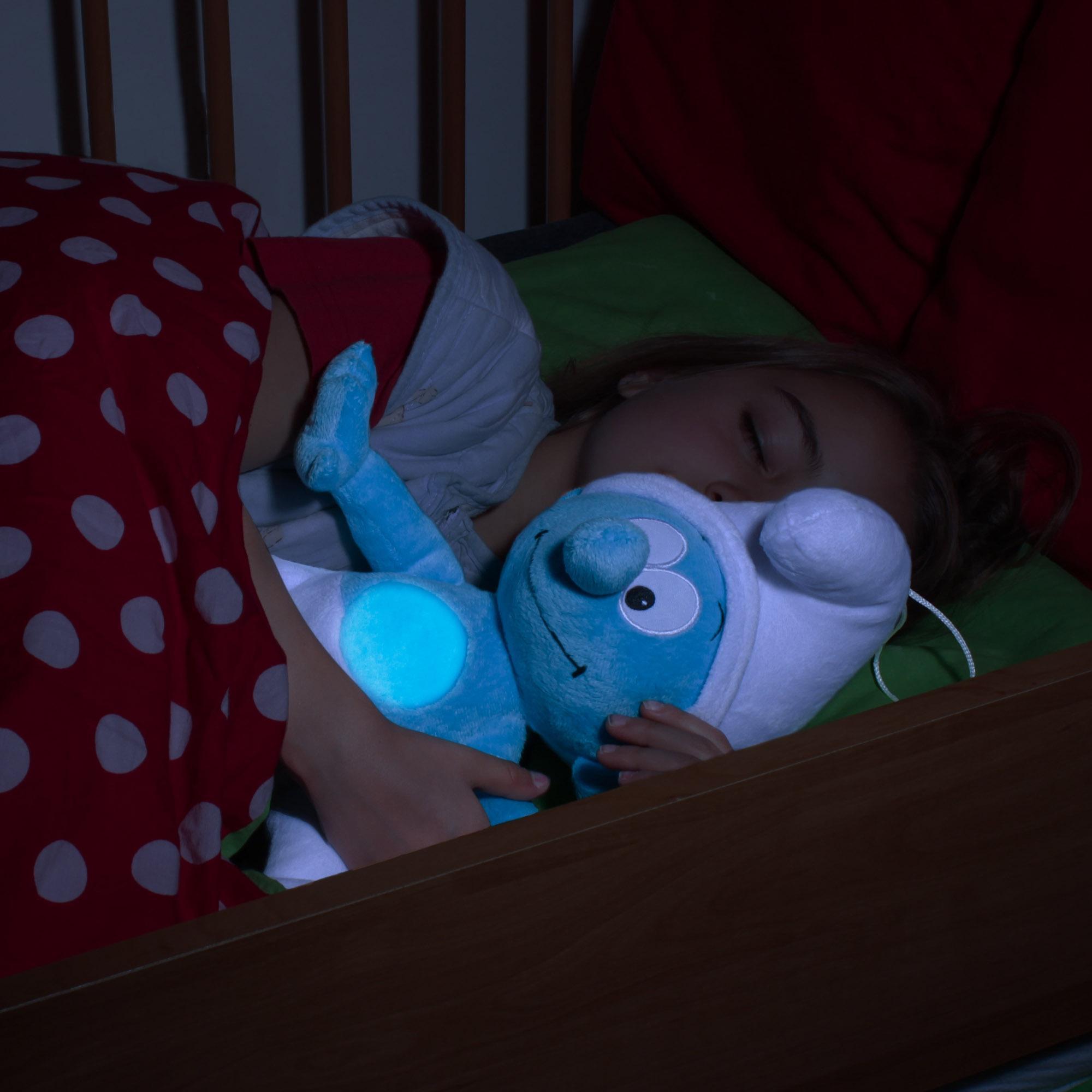 ansmann led nachtlicht schlumpf niedliche einschlafhilfe zum kuscheln mit. Black Bedroom Furniture Sets. Home Design Ideas