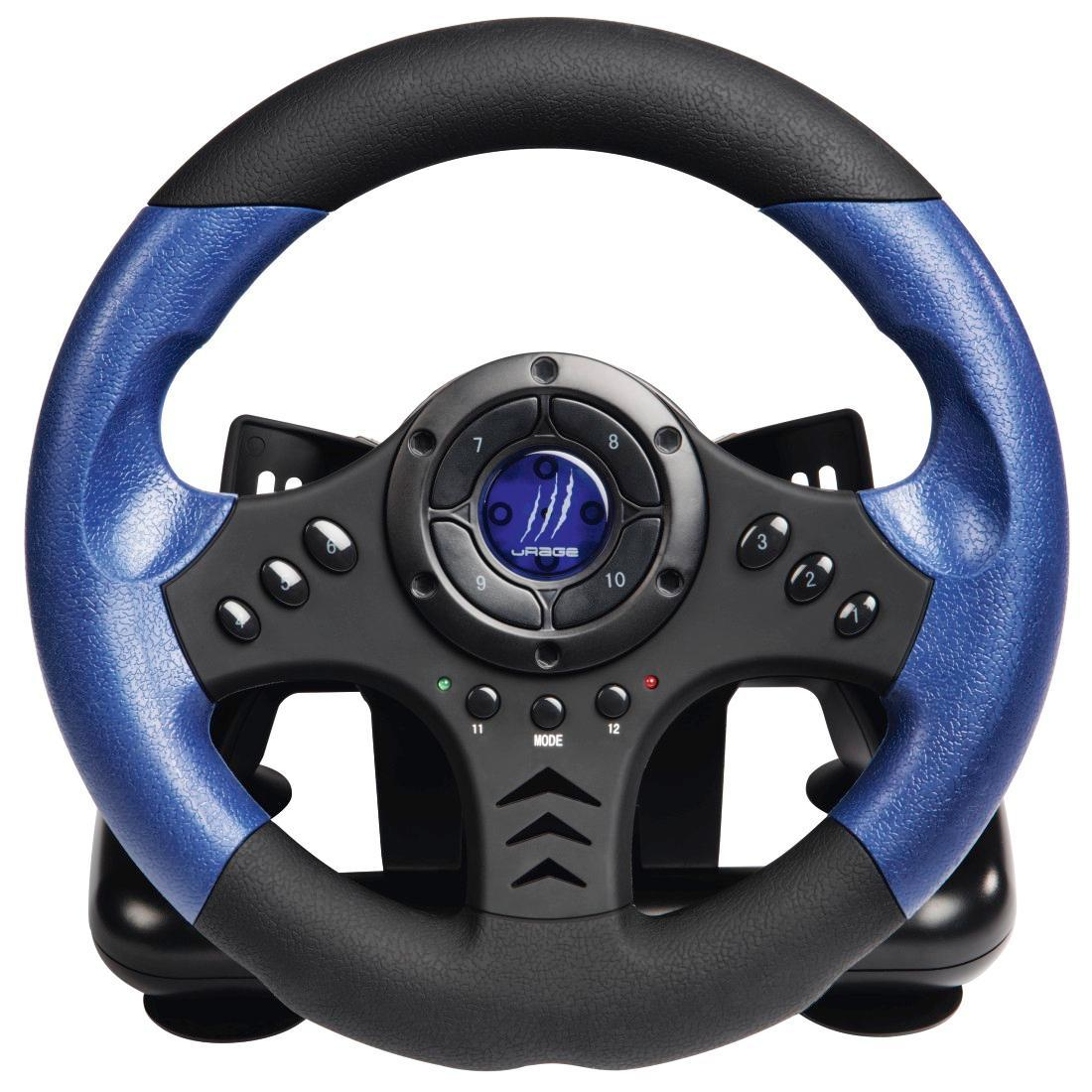 urage lenkrad f r pc racing wheel schwarz blau. Black Bedroom Furniture Sets. Home Design Ideas