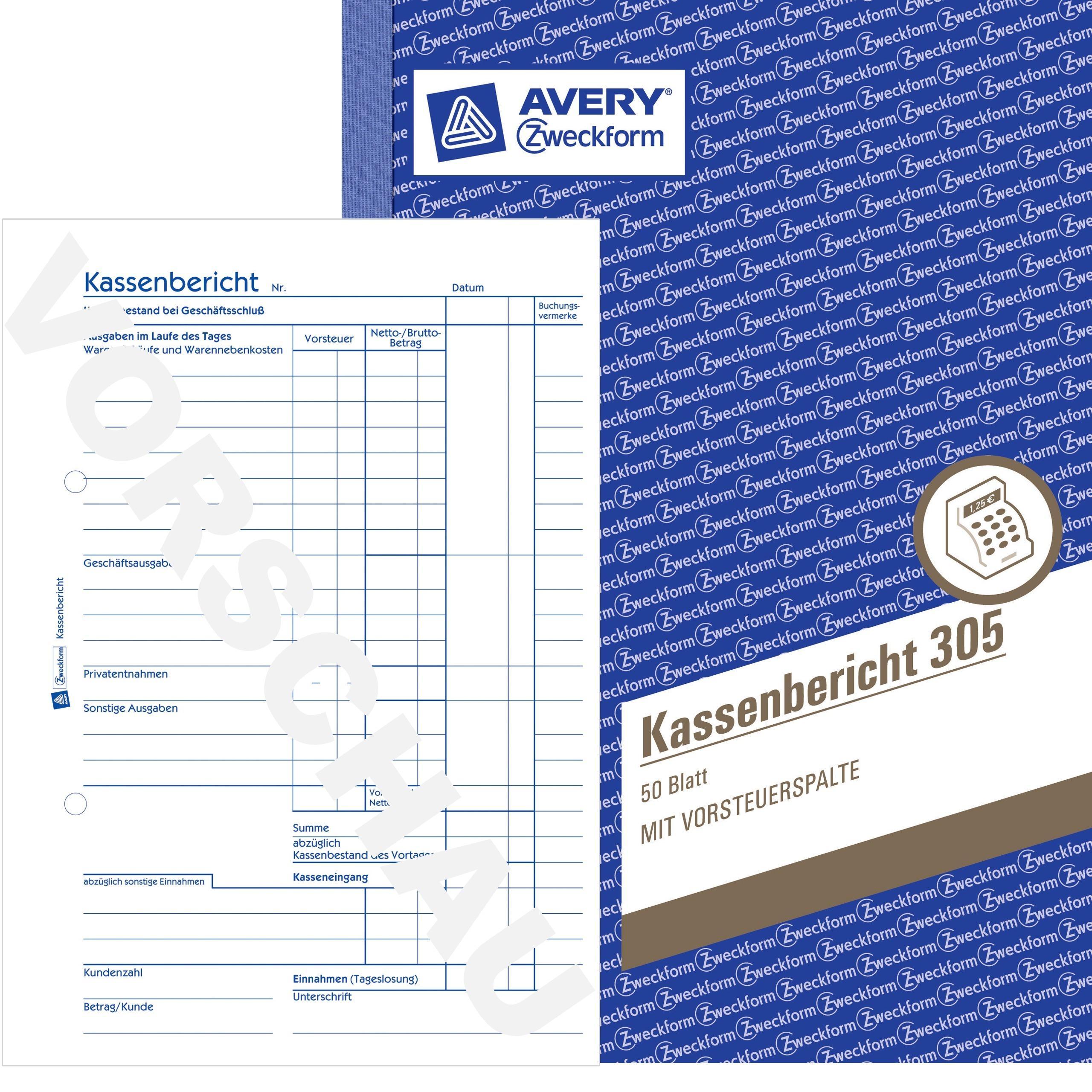 PDF-Download Avery Zweckform 305e Kassenbericht