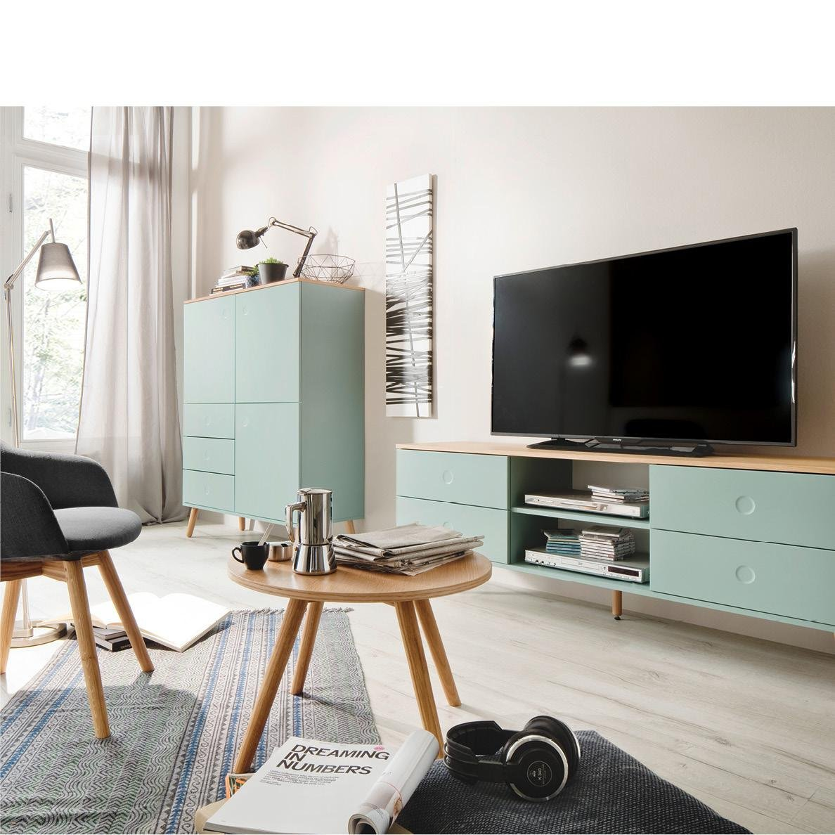 Tv bank design  Tenzo 1664-454 Dot Designer TV-Bank Holz, weiß / eiche, 43 x 162 x ...