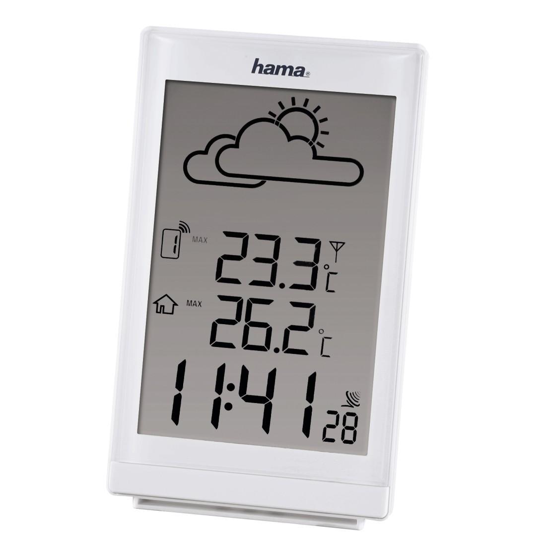 hama ews 880 funk wetterstation funkuhr wecker thermometer frostalarm und wettervorhersage. Black Bedroom Furniture Sets. Home Design Ideas