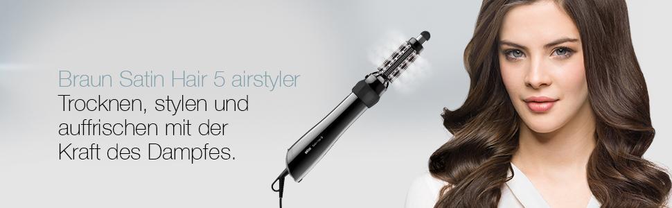 Braun Satin Hair 5 AS 530 Lockenstab Warmluft-Lockenbürste mit Volumenaufsatz und Speziellen Styling