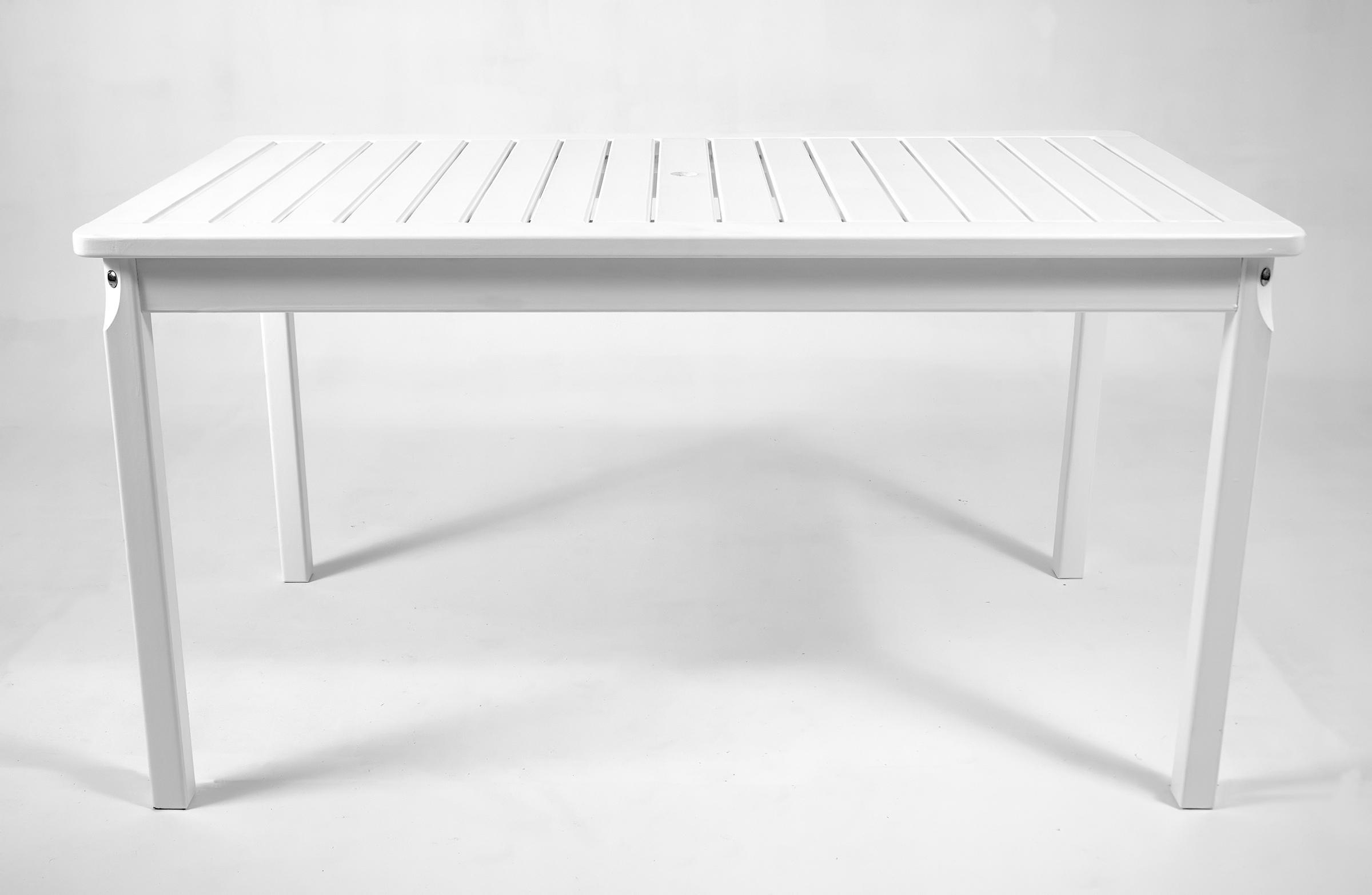 Gartentisch Prince 150x90cm Rattan-Optik Kunststoff Terrasse Weiß Balkon
