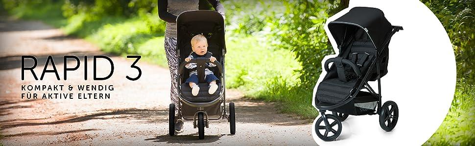 hauck rapid 3 dreirad buggy mit liegefunktion klein und zusammenklappbar einhand. Black Bedroom Furniture Sets. Home Design Ideas