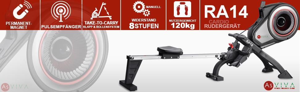 AsVIVA RA14 Rudergerät Magnetic Rower Cardio mit 10kg
