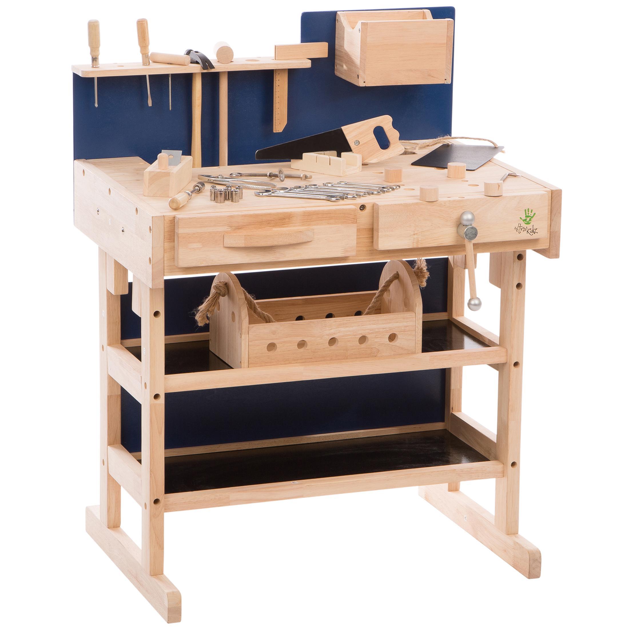 ultrakidz 331900000013 kinder werkbank aus massivholz mit werkzeug set und werkzeugkiste braun. Black Bedroom Furniture Sets. Home Design Ideas