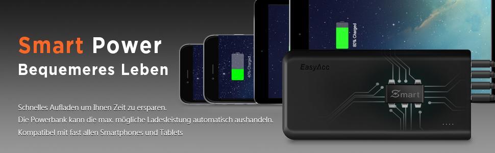EasyAcc Monster 20000mAh Power Bank(4A Eingang 4.8A Smart Ausgang)Externer Akku Ladegerät Tragbares