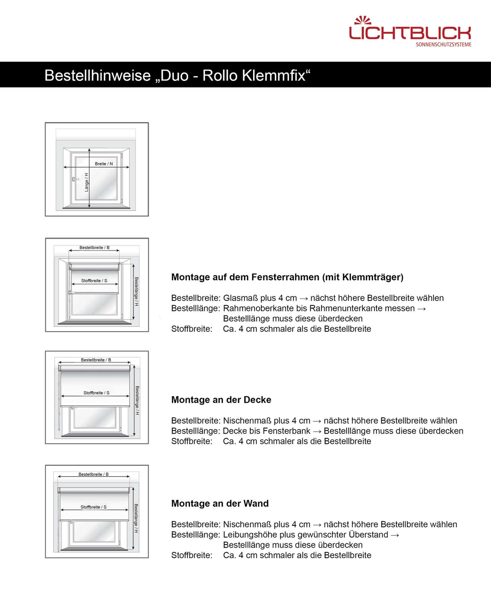 lichtblick duo rollo klemmfix ohne bohren wei 90 cm x 150 cm b x l. Black Bedroom Furniture Sets. Home Design Ideas